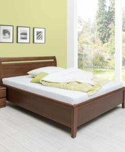 LISA, moření tmavý ořech - dřevěná postel s úložným prostorem